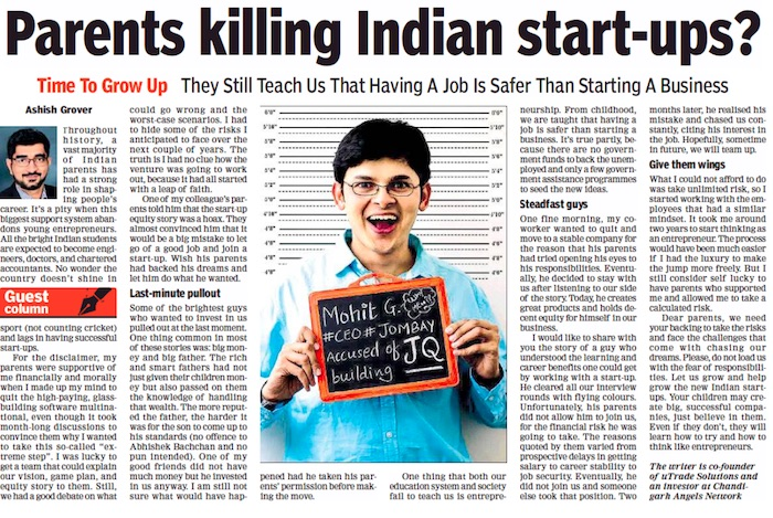 role of indian parents in startup